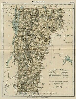 Vermont: Authentic 1889 Map showing Counties, Cities, Topography, Railroads