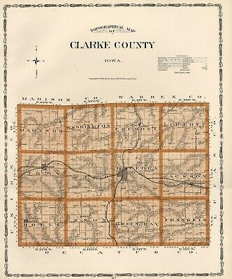 CLARKE County Iowa Map Authentic 1904 (Dated) w/Towns, TWPs, RRs, Topography