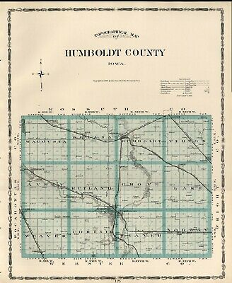 HUMBOLDT County Iowa Map Authentic 1904 (Dated) w/Towns, TWPs, RRs, Topography