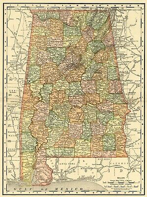 Alabama Map: Authentic 1895 (Dated) showing Towns, Counties, Railroads & More