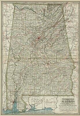 ALABAMA Map: Authentic 1897 (Dated) with Towns, Counties, Railroads & Topography