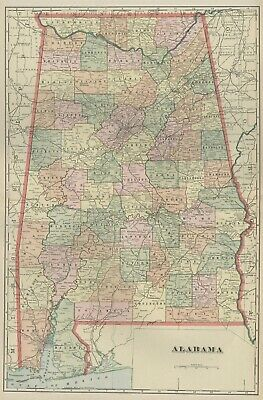ALABAMA Map: Authentic 1899; Counties, Cities, Towns, Railroads, Topography