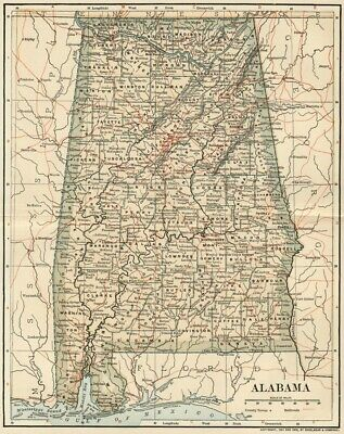 Alabama Map:Authentic 1902 (Dated) Cities, Counties, RRs & 1900 Population