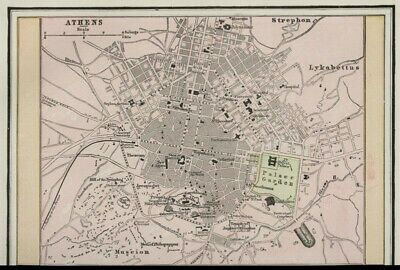 Athens, Greece City Street Map: Authentic 1899; Detailed but SMALL