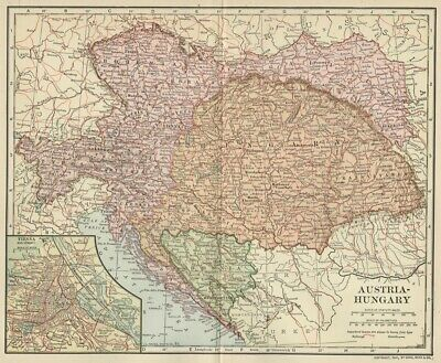 Austro-Hungarian Monarchy Map; Authentic 1907 (Dated) Cities, Towns, Topo, RRs