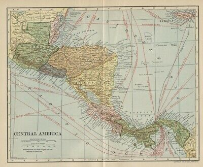 Central America Map: Authentic 1907 (Dated) Cities, Ports, Sea Lanes, Topo, RRs