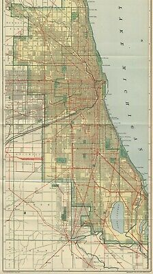 CHICAGO Street Map: Authentic 1907 (Dated) Landmarks, Stations, Railroads LONG