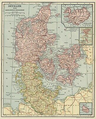 Denmark with Schleswig-Holstein Map: Authentic 1907 (Dated) Cities, Topo, RRs