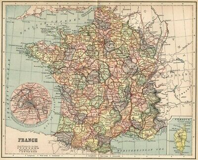 France Map: Authentic 1891; with Provinces, Towns, RRs, Topography