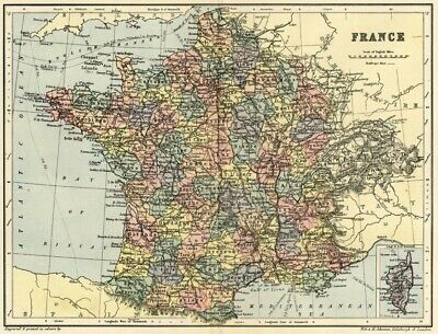 France Map: Authentic 1895; Cities, Towns, Provinces, Topography & RRs