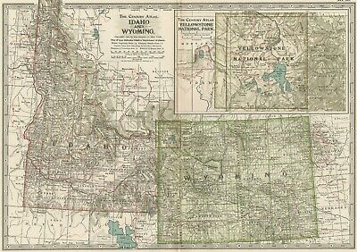 IDAHO & WYOMING Map: Authentic 1897 (Dated) Towns, Counties, Railroads, Topog.