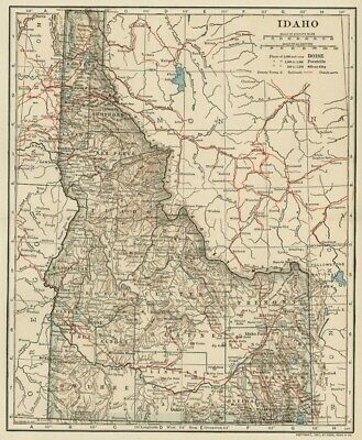 IDAHO Map: Authentic 1907 (dated) with Counties, Towns, Topography, Railroads