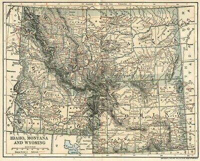 IDAHO, MONTANA & WYOMING Map: Authentic 1902 (Dated)  w/RRs Population Plus