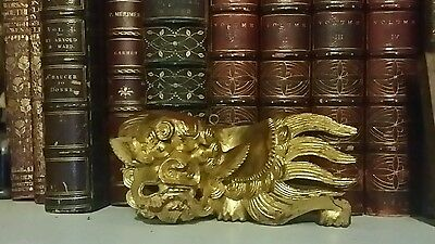Antique Chinese Dragon Gold Over Red Paint, Architecture Salvage