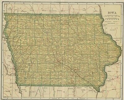 IOWA Map: 100 Years Old showing Counties, Towns, Topography, Railroads