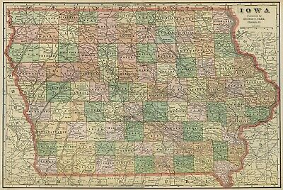 IOWA Map: Authentic 1899; Counties, Cities, Towns, Railroads, Topography