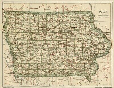 IOWA Map: Dated 1891 showing Towns, Counties, Railroads with 1890 Populations