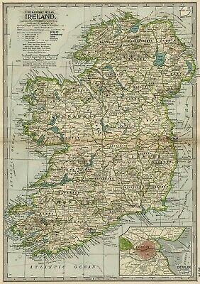IRELAND Map: Authentic 1897 (Dated) Counties, Cities,  Towns, Topography, RRs