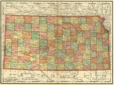 Kansas Map: Authentic 1895 (Dated) showing Towns, Counties, Railroads & More