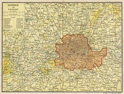 London England & Vicinity Map: Authentic 1903 (Dated) Major Transportation Grid