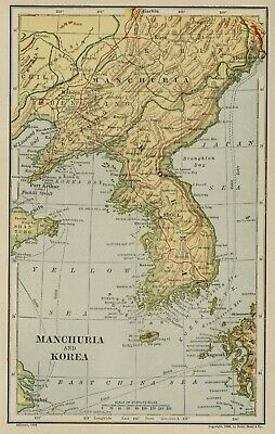 Manchuria & Korea (SMALL) Map: Authentic 1906 (Dated) Cities, Ports, Topo, RRs