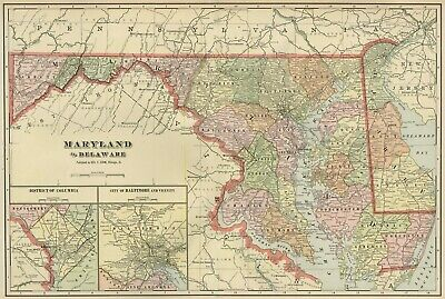 MARYLAND DEL. Map: Authentic 1899; Counties, Cities, Railroads, Topography