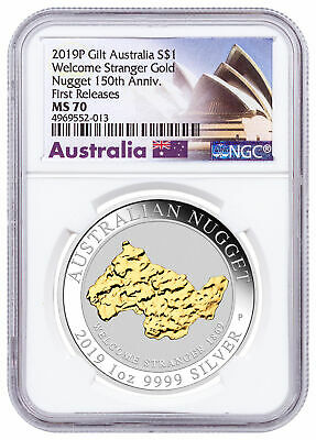 2019P Australia 1 oz Silver Gilt Nugget Welcome Stranger $1 NGC MS70 FR SKU58586