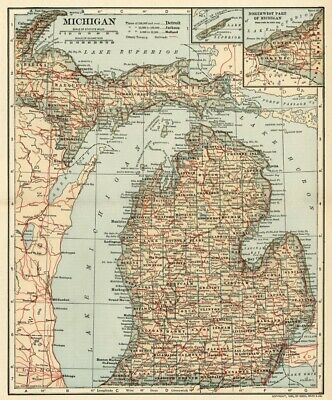 MICHIGAN Map: Authentic 1907 (dated) with Counties, Towns, Topography, Railroads