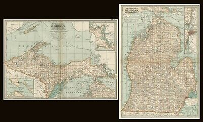 Michigan TWO Maps: Authentic 1897 (Dated) Towns, Counties, Railroads, Topography