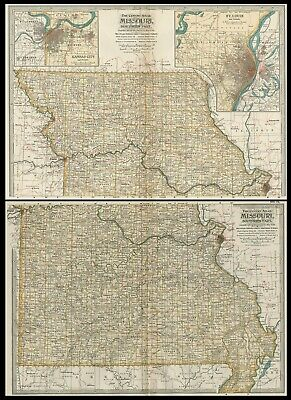 Missouri TWO Maps: Authentic 1897 (Dated) Towns, Counties, Railroads, Topography
