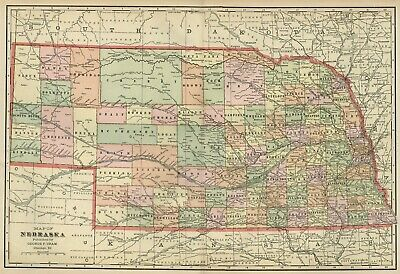 NEBRASKA Map: Authentic 1899; Counties, Cities, Towns, Railroads, Topography