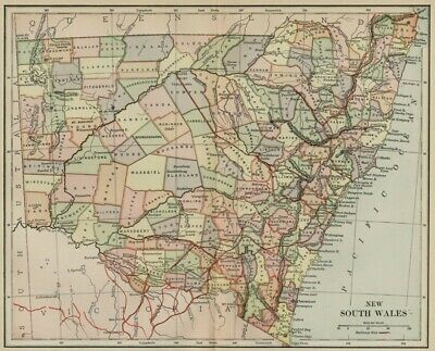 New South Wales Australia Map: 1891 showing Counties, Towns, RRs, Topography