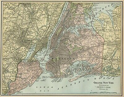New York City Greater Metro Area Map: Authentic 1899; with Boroughs, RRs+