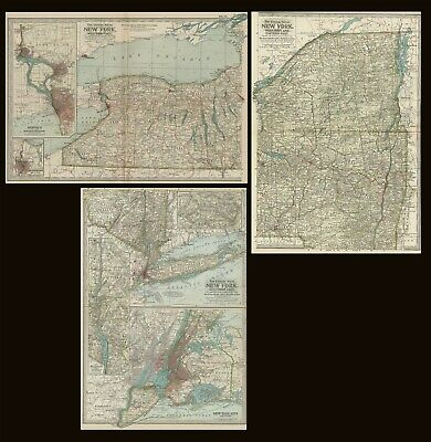 New York THREE Maps: Authentic 1897 (Dated) Towns, Counties, Railroads, Topog,