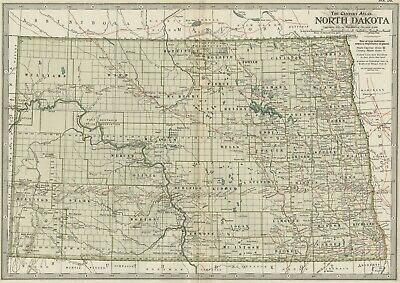 NORTH DAKOTA Map: Authentic 1897 (Dated)  Towns, Counties, Railroads, Topog.