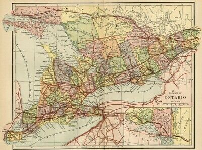 Ontario Canada Map: Authentic 1891; Counties, Towns, RRs, Topography