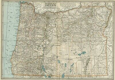 OREGON Map: Map: Authentic 1897 (Dated) Towns, Counties, Railroads, Topography