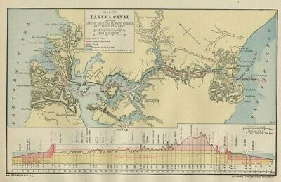 Panama Canal Map (In Construction) Genuine 1906 (Dated) Cities, Topo, RR SMALL