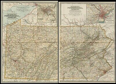 Pennsylvania TWO Maps: Authentic 1897 (Dated) Towns, Counties, Railroads, Topog.