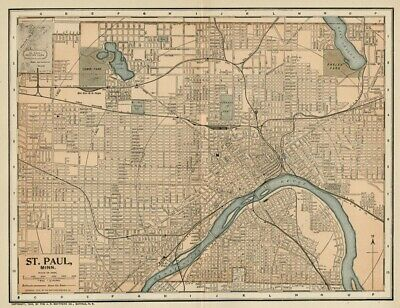 Saint Paul MN Street Map / Plan: Authentic 1903 (Dated) Landmarks, Stations, +