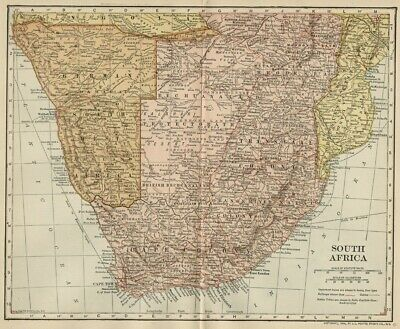 South Africa & European Colonies Map: Authentic 1908 (Dated) Cities, Topo, RRs
