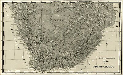 South AFRICA Topographical Map: 1899 20° S Latitude and Below (B & W)