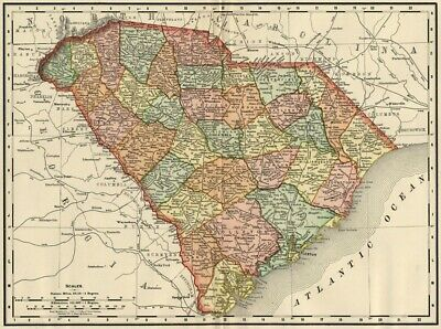 South Carolina Map: Authentic 1895 (Dated) / Towns, Counties, Railroads & More