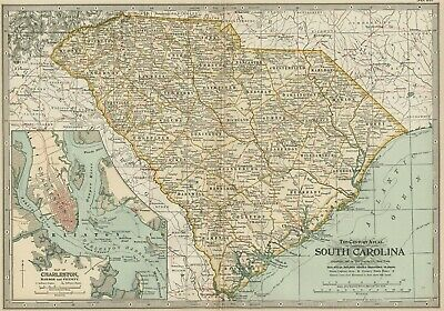 SOUTH CAROLINA Map: Authentic 1897 (Dated) Towns, Counties, Railroads, Topog.