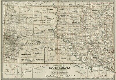 SOUTH DAKOTA Map: Authentic 1897 (Dated) Towns, Counties, Railroads, Topography