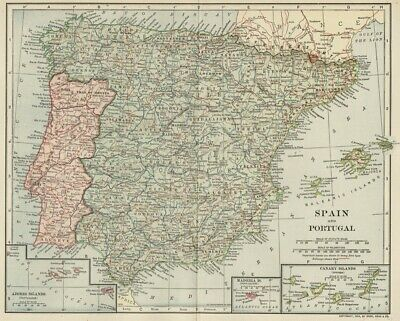 Spain & Portugal Map Genuine 1906 (Dated) Political Divisions, Cities, Topo, RRs