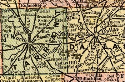 Texas: TWO Maps: Authentic 1899; Counties, Cities, Railroads, Topography