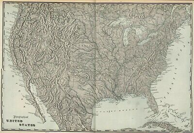 UNITED STATES Topographical Map: Authentic 1899; Large, Detailed