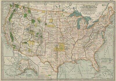 United States USA Map: Authentic 1897 (Dated) Major Cities, w/ Indian Territory