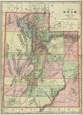 UTAH Map: Authentic 1899; Counties, Cities, Towns, Railroads, Topography